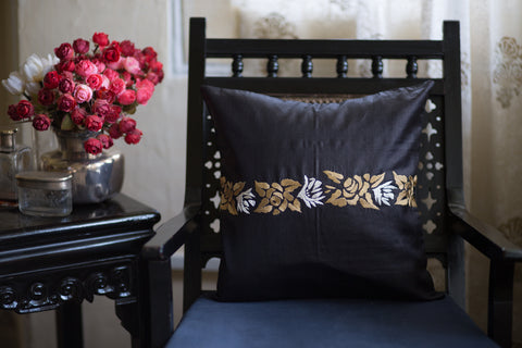 Hand Embroidered Silk (Black) | Border of Roses