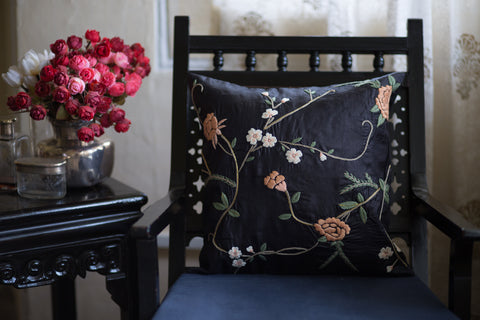 Hand Embroidered Silk (Black) | Floral Multi
