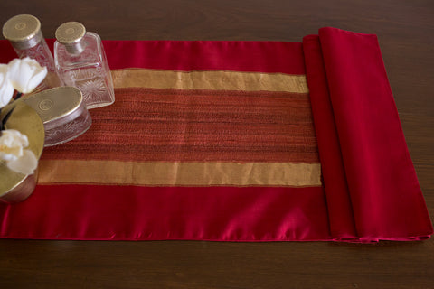 Over-dyed Maheshwari (Red) | Woven Tussar Panel