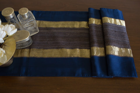 Over-dyed Maheshwari (Indigo) | Woven Tussar Panel