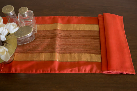 Over-dyed Maheshwari (Coral Orange) | Woven Tussar Panel