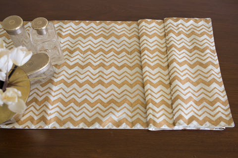 Chevron Gold Print (Natural) | Cotton Voile