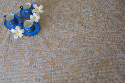 Leaf Jaal Print on Kota (Natural/Gold) | Badla Borders