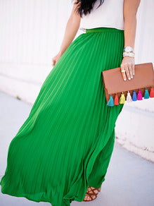 Blakely - Green Pleated Maxi Skirt