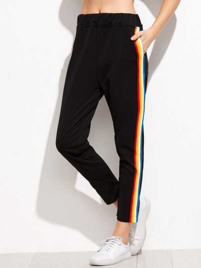 Frankie - Black Rainbow Casual Lounge Trousers