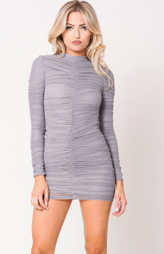 Grey Bodycon Dress With Sleeves