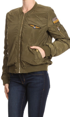 Alexa - Fresh From L.A Olive Bomber Jacket