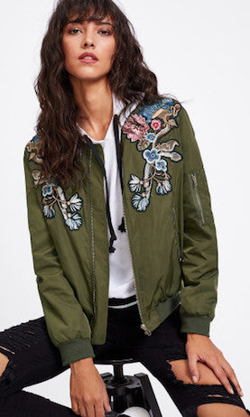 Green Floral Bomber Jacket