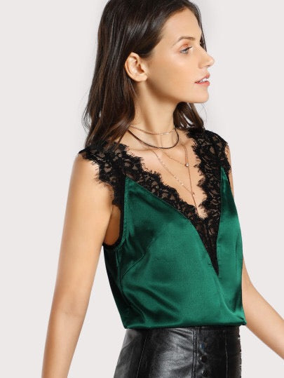 Skyler- Green Cami with Black Lace Trim
