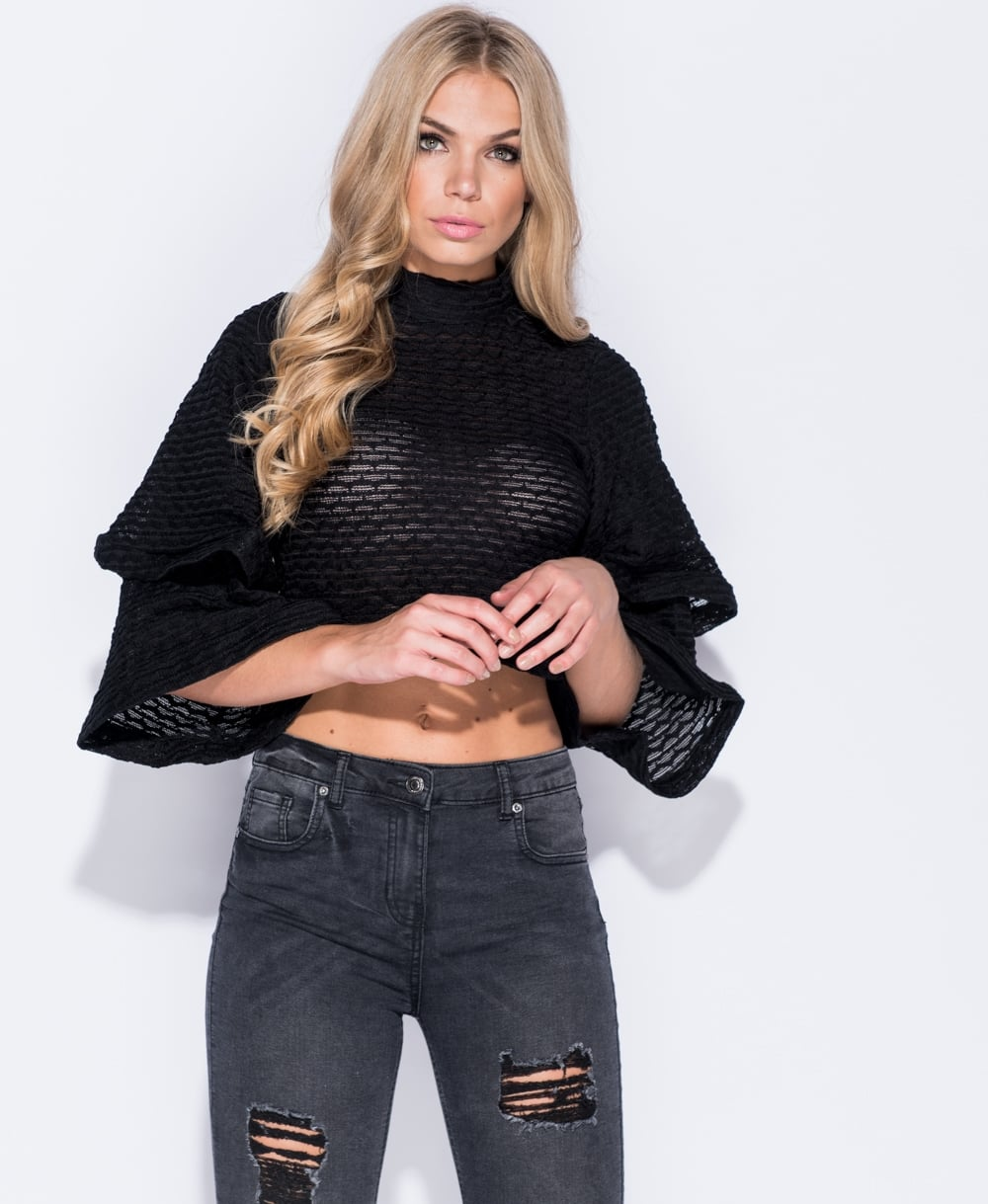 Sophia - Black High Neck Flare Sleeve Crop Top