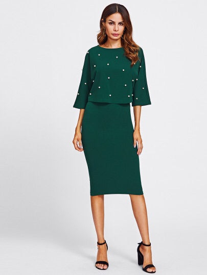 Long Sleeve 2 Piece Dress