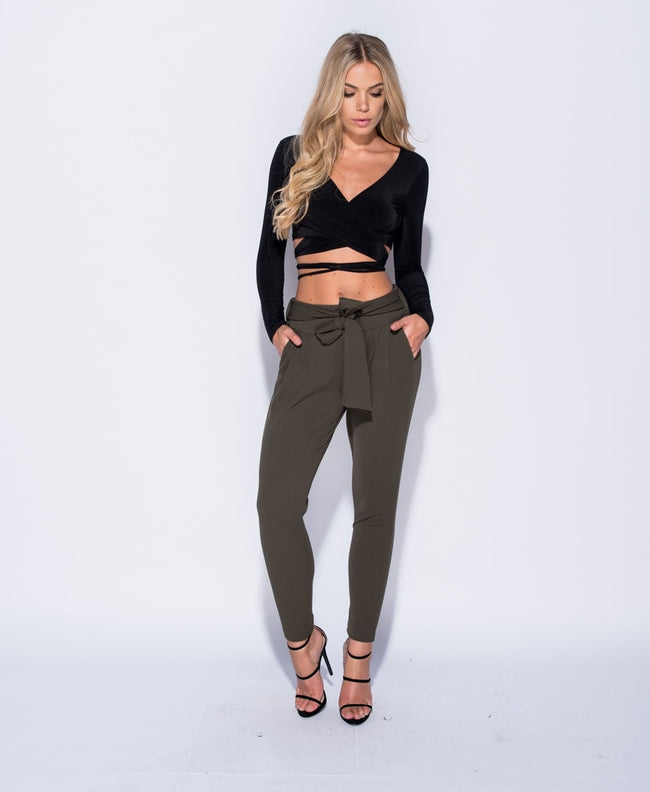 Sydney - Waist Tie Pleated Trousers - Khaki
