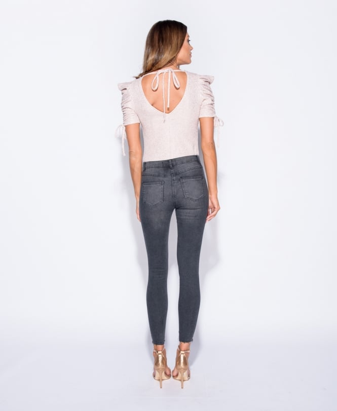 Tammy - Black Ripped Raw Hem Skinny Jeans