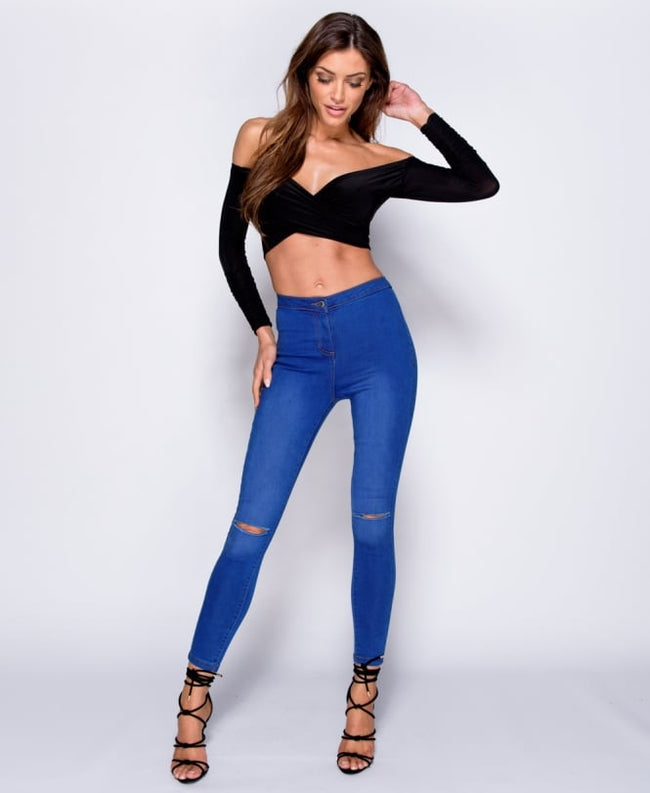 Savannah  - Bright Blue Faded Ripped Jegging