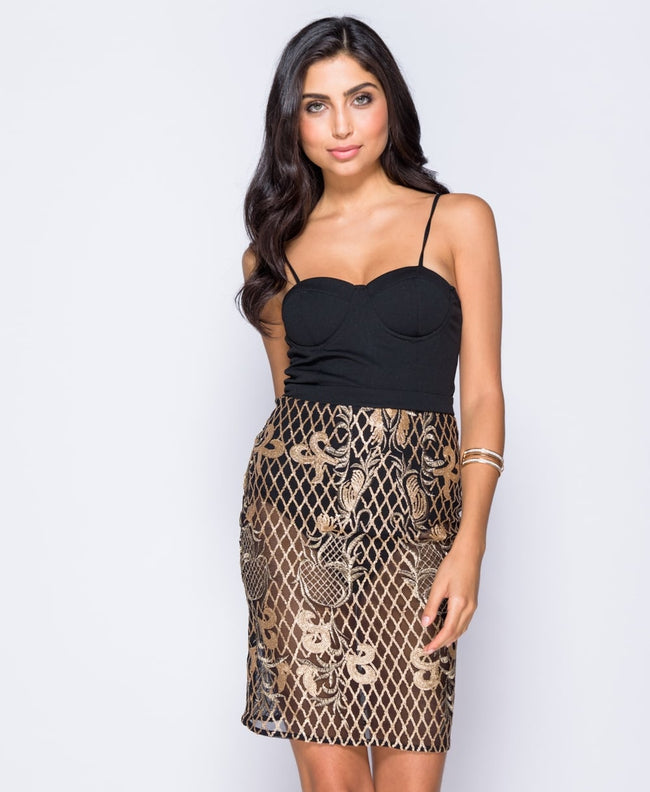 Black & Gold Bodycon Dress