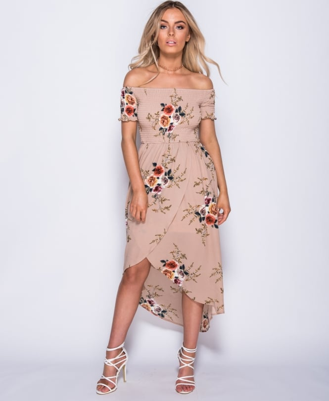 Cecelia - Flower Print Bardot Dress