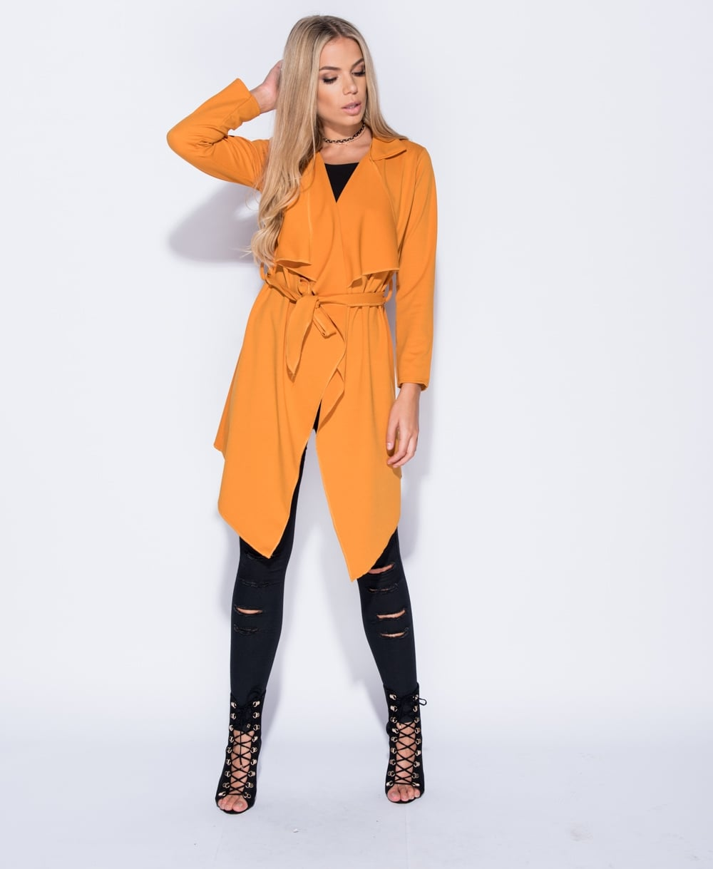 Issy - Mustard Waist Tie Waterfall Long Coat