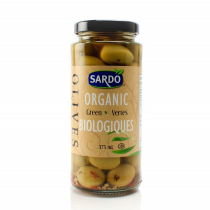 ORGANIC PITTED GREEN OLIVES 375ML