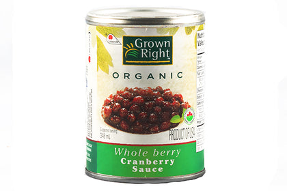 grown right organic whole cranberry sauce 348ml