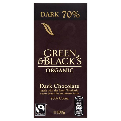 ORG.DARK CHOCOLATE 70% BAR 100G