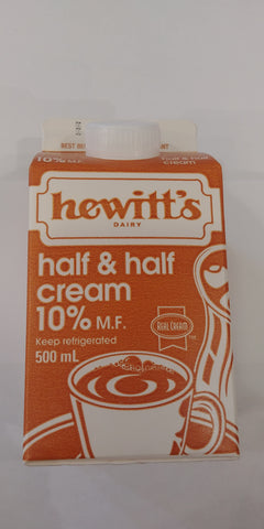 Hewittès half &half cream 10% CARTOON 500ML