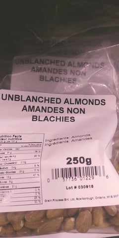 UNBLANCHED ALMONDS 250g