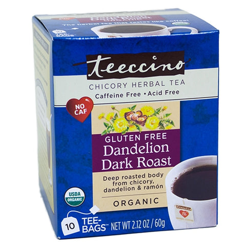 Teecino Dandelion Dark Roast Herbal Coffee 10 Tea Bags