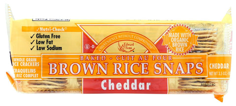 Organic cheddar brown rice snaps 3.6oz