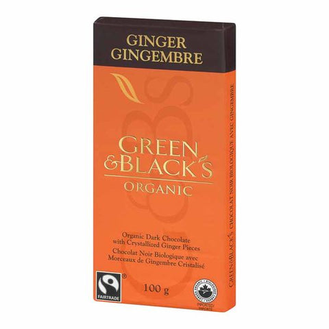 ORG. DARK CHOCOLATE GINGER BAR 100 G