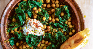 Chickpea and Spinach Tagine with Yogurt