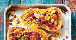 Stuffed Squash with Leeks, Lentils & Pomegranate