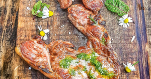 Grilled Lamb Leg Steaks with Chamomile Salsa Verde