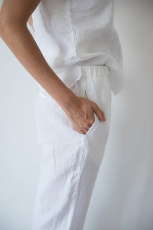 Load image into Gallery viewer, Linen Pant White