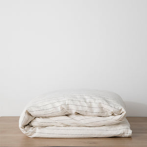 Load image into Gallery viewer, Linen Duvet Cover in Pencil Stripe