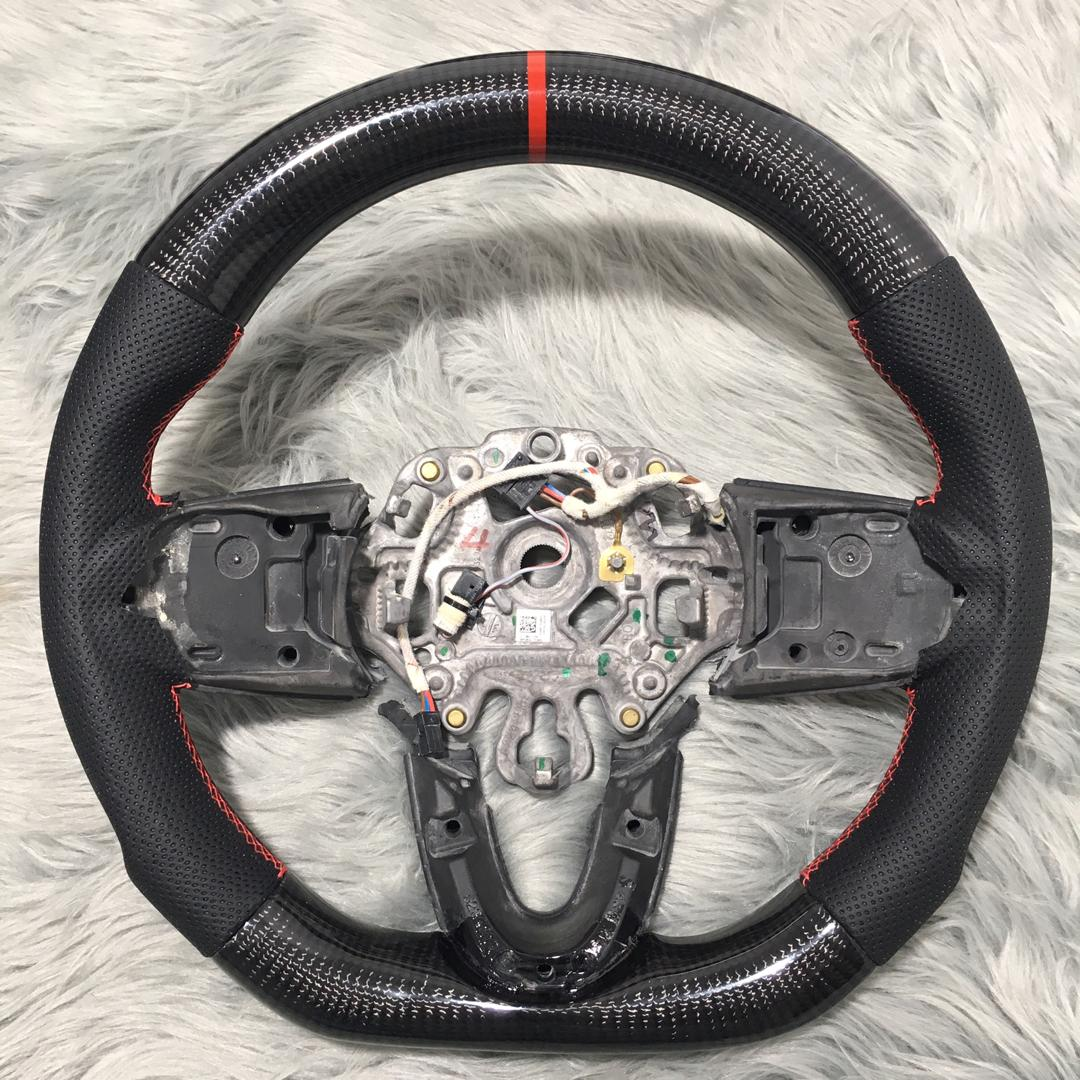MINI flat bottom carbon steering wheel R55 R56 R57 R58 F55 F56 F57 F58 F60 Second gen Third Gen Carbon retrimmed