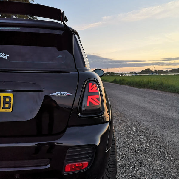 Mini Cooper R56 R57 R58 R59 tail lights union jack MW-UK mini parts aftermarket lights