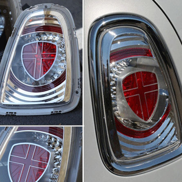 Clear LED Rear tail lights for MINI R56 and R57. Replacement rear light clusters for Mini have clear lenses and clear background. Sold as a pair.