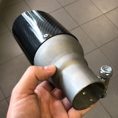 Carbon fibre fiber exhaust tips tailpipes all Mini Cooper models 70mm 80mm 90mm 100mm high quality RSIC6 Italy UK Worldwide R50 R52 R53 R55 R56 R57 R58 R59 R60 R61 F55 F56 F57