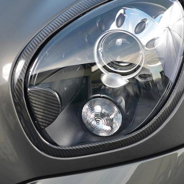 Carbon fiber headlight washer jet trim for Mini R60 and R61
