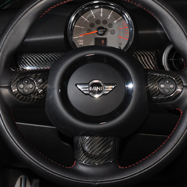 Carbon Fiber Steering wheel trims for Mini R56 multi function steering wheel