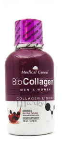 Bio Collagen Liquido 16Oz (MEDICAL GREEN) Frutos Rojos