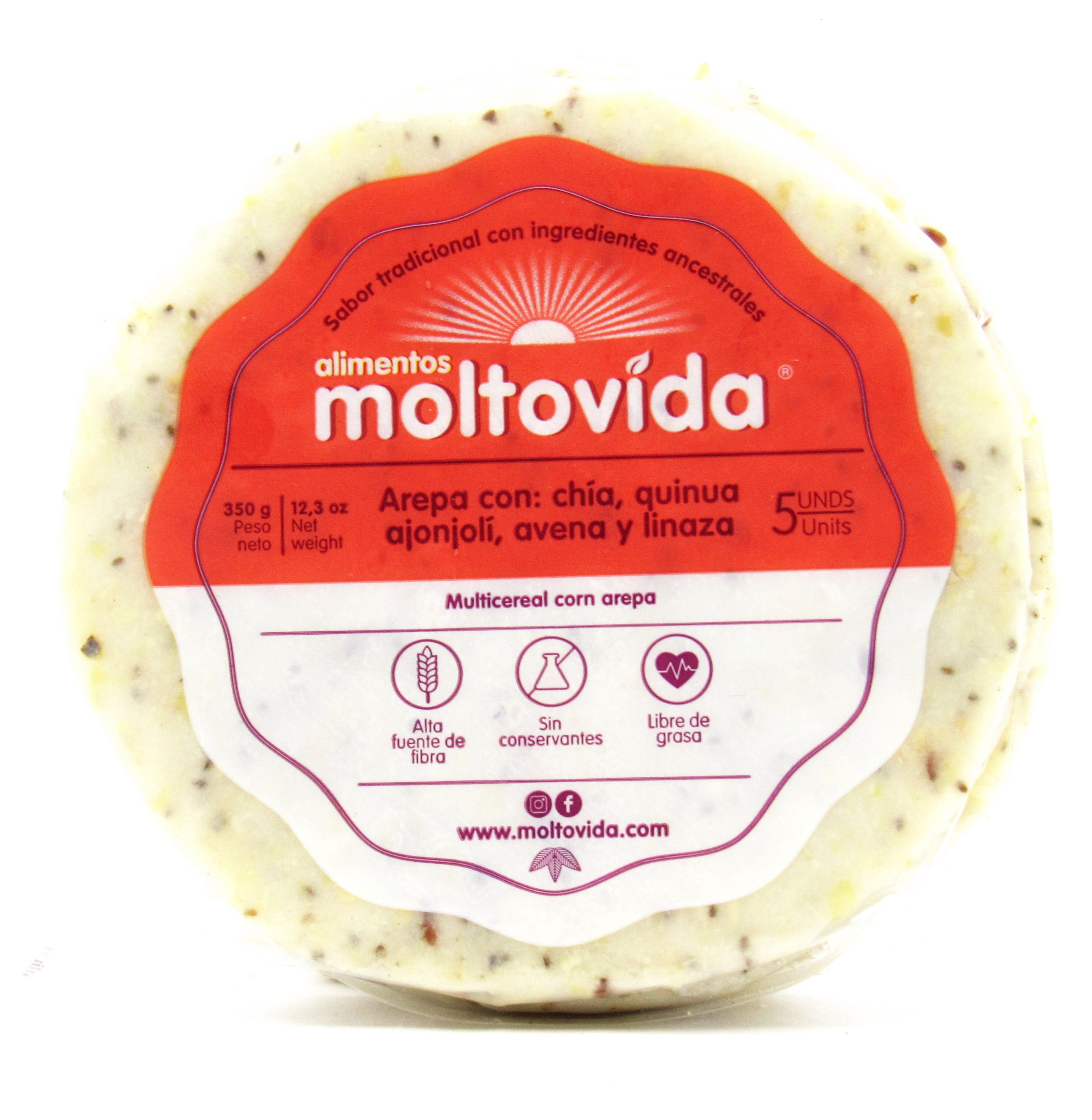 Arepa 400gr x 5 unds (MOLTOVIDA) Multicereal + Avena & Linaza