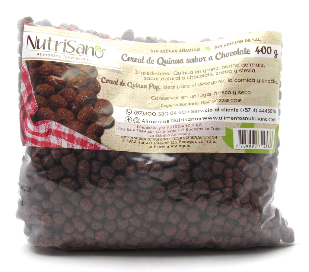 Cereal Quinoa 400gr (NUTRISANO) Chocolate Pop