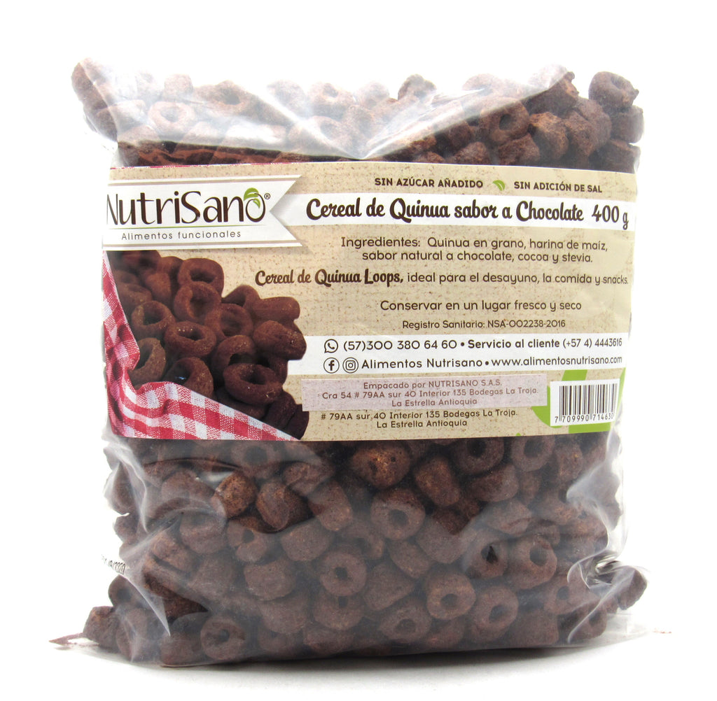 Cereal Quinoa 400gr (NUTRISANO) Chocolate Loops