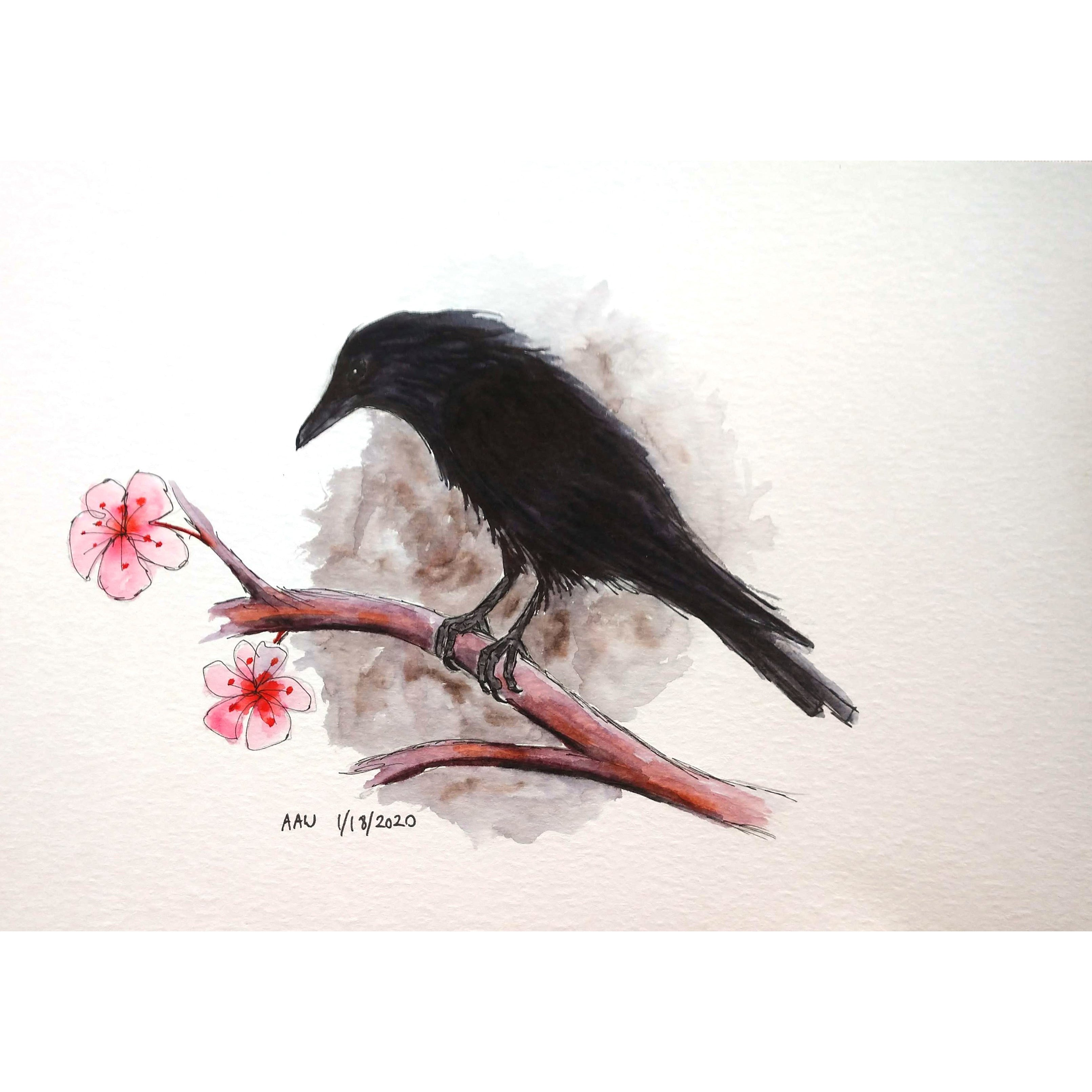 """Crow and Flowers"""