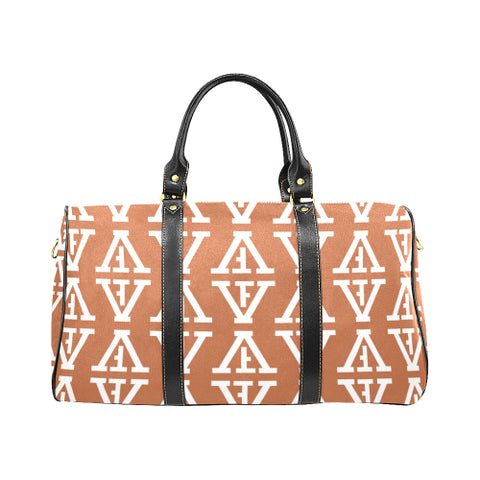 F-FIVE TRAVEL BAG TAN/WHITE with Black Straps