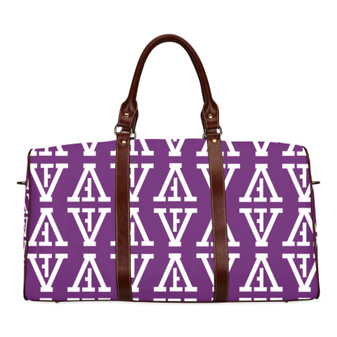 F-FIVE TRAVEL BAG BROWN STRAP PURPLE/WHITE