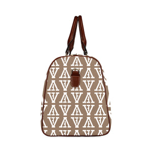 F-FIVE TRAVEL BAG BROWN STRAP LIGHT BROWN/WHITE