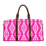 F-FIVE TRAVEL BAG BROWN STRAP PINK/WHITE