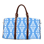 F-FIVE TRAVEL BAG BROWN STRAP BABY BLUE/WHITE